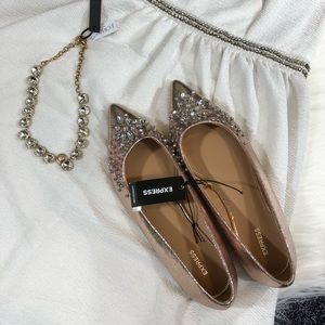 Express Shoes - Express jeweled rose gold flats